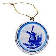 Xmas Ornament Delft Blue Drum with Mill