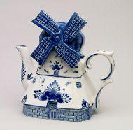 Teapot Delft Blue Windmill Shape 8 inches tall