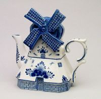 Teapot Delft Blue Windmill Shape 8 inches tall