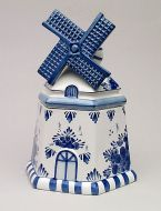 Cookie Jar Delft Blue Mill Shape 9.5 inch