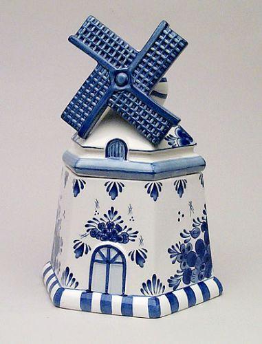Cookie Jar Delft Blue Mill Shape 9.5 inch