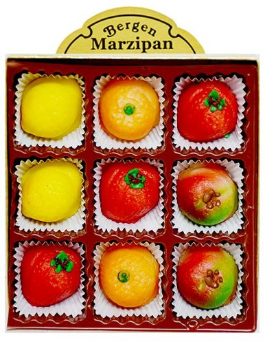 Marzipan Fruit 9 Piece Box 4 ozs