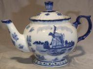 Teapot 1Liter Delft Blue Mill Decor 7 inch