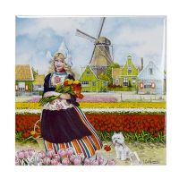 TILE P TULIP GIRL/DOG/MILL