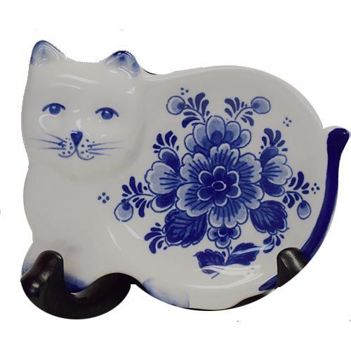 Teabag Holder Delft Blue Cat