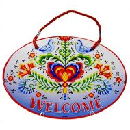 Door Sign Porcelain Welcome Lovebirds