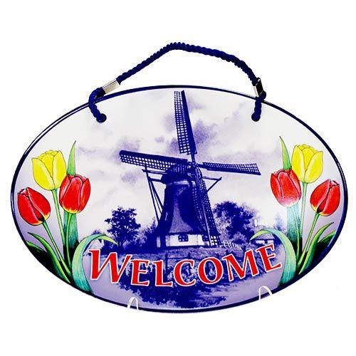 Door Sign Porcelain Welcome/Mill+Tulips