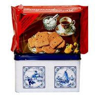 Delft Blue Tin with 400 gram De Ruyter Speculaas Cookies