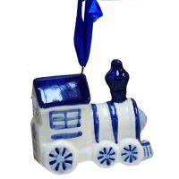 Xmas Ornament Delft Mini Train 2.2x1.2 inches